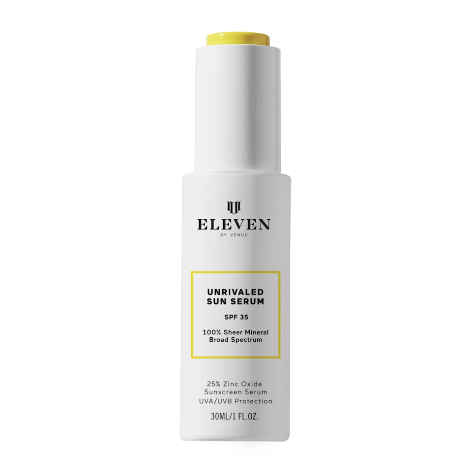 """It's easy to see that tennis champion Venus Williams had everyone in mind when formulating the <a href=""""https://www.allure.com/story/venus-williams-credo-beauty-eleven-sunscreen-collection?mbid=synd_yahoo_rss"""" rel=""""nofollow noopener"""" target=""""_blank"""" data-ylk=""""slk:EleVen by Venus Williams Unrivaled Sun Serum SPF 35"""" class=""""link rapid-noclick-resp"""">EleVen by Venus Williams Unrivaled Sun Serum SPF 35</a>, as the mineral sunscreen dries down completely clear without any <a href=""""https://www.allure.com/gallery/best-sunscreen-dark-skin-tones?mbid=synd_yahoo_rss"""" rel=""""nofollow noopener"""" target=""""_blank"""" data-ylk=""""slk:residual white cast"""" class=""""link rapid-noclick-resp"""">residual white cast</a>. She also made sure to add in a few extra ingredients, including prickly pear and coconut, to keep skin hydrated while it's being protected."""