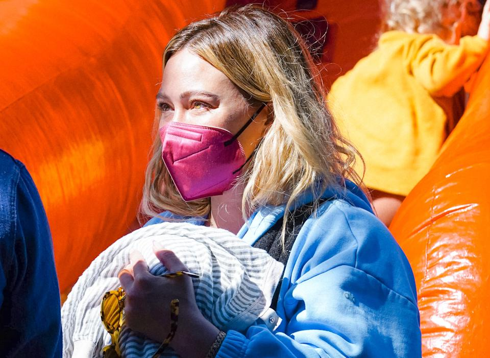 Hilary Duff wore a Maskc mask during a recent outing. (Photo by JOCE/Bauer-Griffin/GC Images)