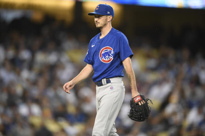 Chicago Cubs starting pitcher Zach Davies walks off the field during the third inning of a baseball game against the Los Angeles Dodgers in Los Angeles, Thursday, June 24, 2021. (AP Photo/Kelvin Kuo)