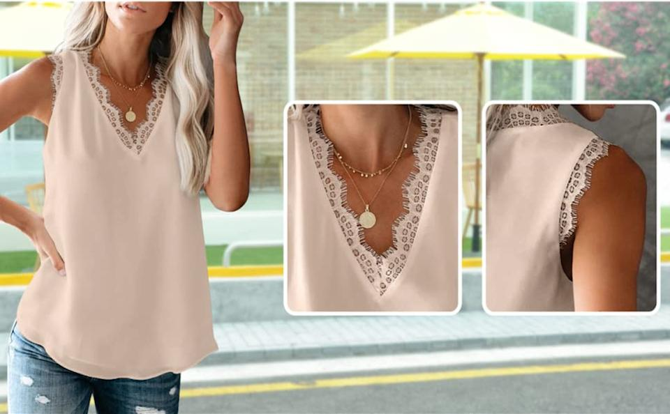 Shoppers are loving the Lime Flare Women's Lace Tank. Image via Amazon.