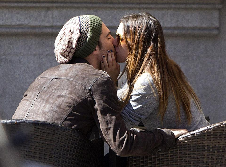 MADRID, SPAIN - MARCH 09:  Miguel Angel Silvestre and Blanca Suarez are seen kissing each other on March 9, 2012 in Madrid, Spain.  (Photo by Europa Press/Europa Press via Getty Images)