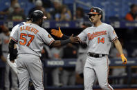 Baltimore Orioles' Rio Ruiz (14) celebrates with Hanser Alberto after Ruiz hit a two-run home run off Tampa Bay Rays starting pitcher Trevor Richards during the fifth inning of the first baseball game of a doubleheader Tuesday, Sept. 3, 2019, in St. Petersburg, Fla. (AP Photo/Chris O'Meara)