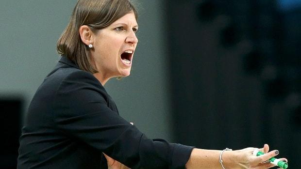 Lisa Thomaidis is out as head coach of Canada's senior women's basketball team after posting a 83-44 record and guiding the squad to consecutive Olympic appearances, most recently this past summer in Tokyo. (Shannon Stapleton/Reuters/File - image credit)