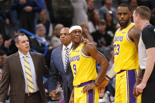Los Angeles Lakers guard Rajon Rondo (9) is ejected during the second half of the team's NBA basketball game against the Oklahoma City Thunder on Friday, Nov. 22, 2019, in Oklahoma City. (AP Photo/Sue Ogrocki)