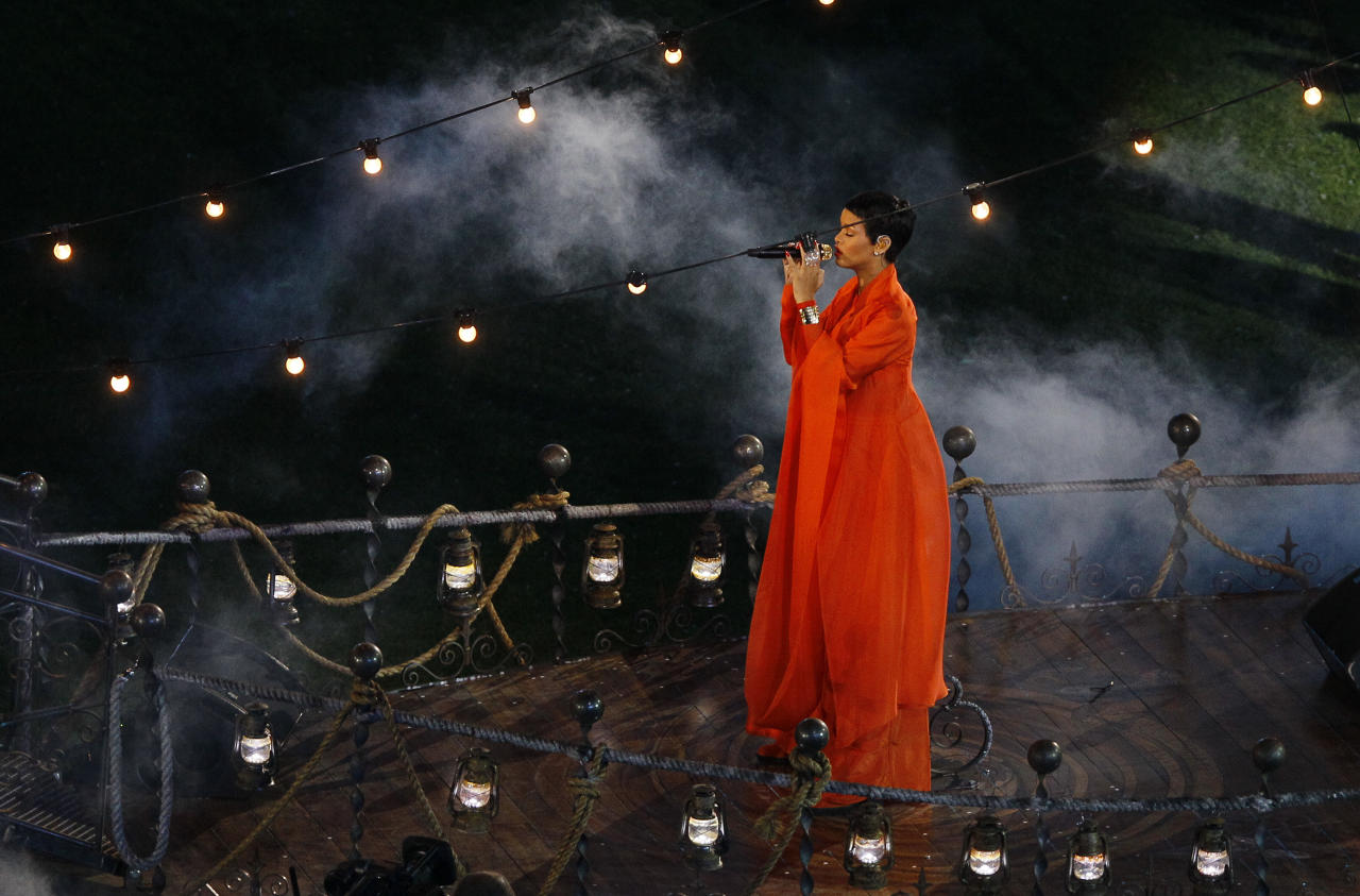 Singer Rihanna performs during the closing ceremony for the 2012 Paralympics games, Sunday, Sept. 9, 2012, in London. (AP Photo/Kirsty Wigglesworth)