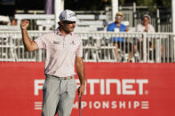 Max Homa reacts after making a birdie putt on the 17th green of the Silverado Resort North Course during the final round of the Fortinet Championship PGA golf tournament Sunday, Sept. 19, 2021, in Napa, Calif. Homa won the tournament. (AP Photo/Eric Risberg)
