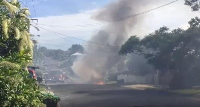 The car on fire in Camp Hill. Source: ABC