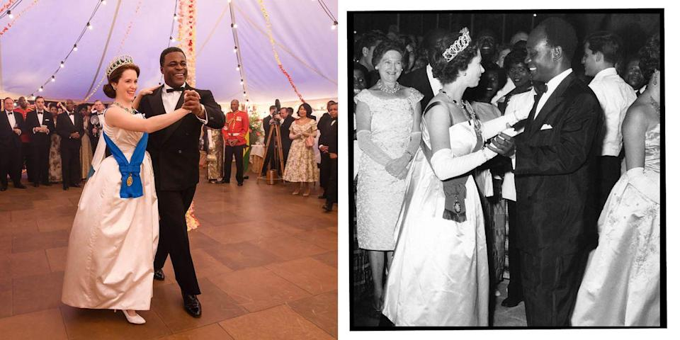 <p>During a 1961 visit to Ghana (four years after the West African country gained independence), the Queen did the foxtrot with President Kwame Nkrumah. </p>