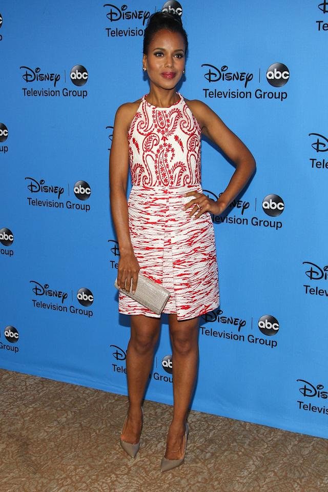"BEVERLY HILLS, CA - AUGUST 04: Actress Kerry Washington attends the Disney & ABC Television Group's ""2013 Summer TCA Tour"" at The Beverly Hilton Hotel on August 4, 2013 in Beverly Hills, California. (Photo by Paul A. Hebert/Getty Images)"