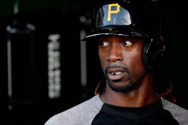 WASHINGTON, DC - JULY 22: Andrew McCutchen #22 of the Pittsburgh Pirates waits in the dugout during batting practice before playing a game against the Washington Nationals at Nationals Park on July 22, 2013 in Washington, DC. (Photo by Patrick McDermott/Getty Images)