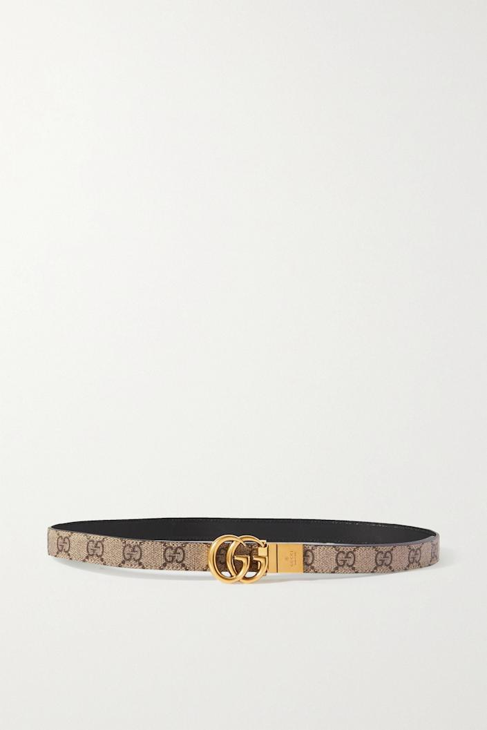 """<p><strong>Gucci</strong></p><p>net-a-porter.com</p><p><strong>$490.00</strong></p><p><a href=""""https://go.redirectingat.com?id=74968X1596630&url=https%3A%2F%2Fwww.net-a-porter.com%2Fen-us%2Fshop%2Fproduct%2Fgucci%2Faccessories%2Fskinny%2Freversible-printed-coated-canvas-and-leather-belt%2F15546005222336939&sref=https%3A%2F%2Fwww.harpersbazaar.com%2Ffashion%2Ftrends%2Fg36679785%2Fdesigner-belts-for-women%2F"""" rel=""""nofollow noopener"""" target=""""_blank"""" data-ylk=""""slk:Shop Now"""" class=""""link rapid-noclick-resp"""">Shop Now</a></p>"""