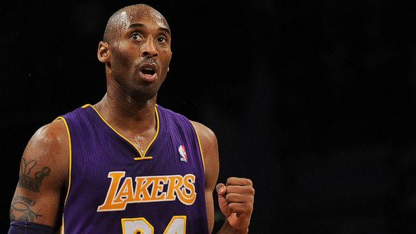 PHOTO: In this file photo taken on Feb. 5, 2013, Los Angeles Lakers shooting guard Kobe Bryant reacts while playing against the Brooklyn Nets during their NBA game at the Barclays Center in the Brooklyn borough of New York City. (Emmanuel Dunand/AFP via Getty Images)