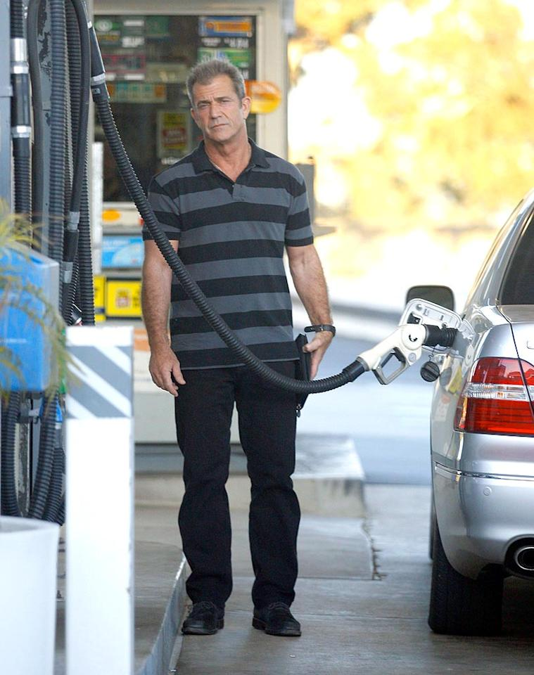 "Mel Gibson fills up his Lexus. Could this be the same Lexus he was pulled over in when he was charged with a DUI in July of 2006? Sasha/<a href=""http://www.x17online.com"" target=""new"">X17 Online</a> - April 14, 2008"