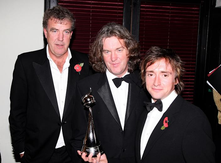 Top Gear's Jeremy Clarkson, James May and Richard Hammond with the Most Popular Factual Programme award at the 2007 NTAs at London's Royal Albert Hall, October 2007. (Photo by Dave Hogan/Getty Images)