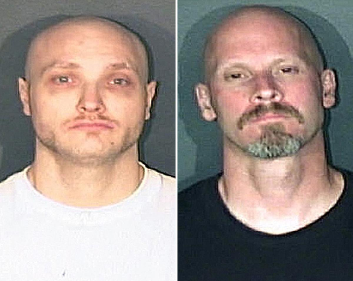This combo made from photos released by the El Paso County, Colo., Sheriff's office shows Thomas James Guolee, 31, left, and James Franklin Lohr, 47, who are wanted for questioning in the Tom Clements homicide investigation. Lohr is described as 6 feet tall, 160 pounds, with blond hair, brown eyes and several tattoos. Guolee is a 31 year old male described as 5 feet 9 inches tall, 160 pounds, with blond hair, blue eyes and several tattoos. (AP Photo/El Paso Sheriff)