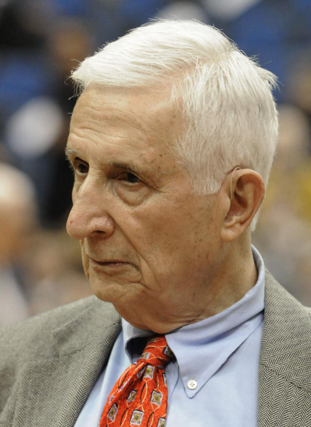 FILE - In this March 1, 2011, file photo, longtime Star Tribune of Minneapolis sports reporter and radio personality Sid Hartman, who turned 100 on Sunday, March 15, 2020, looks on prior to an NBA basketball game in Minneapolis. Hartman served as the acting general manager of the Minneapolis Lakers who later became the Los Angeles Lakers. (AP Photo/Jim Mone, File)