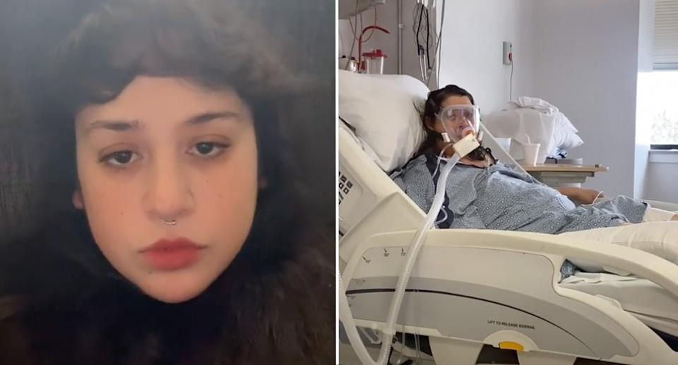 Amanda (left) posted footage of her mum struggling to breathe despite wearing a ventilator (right).