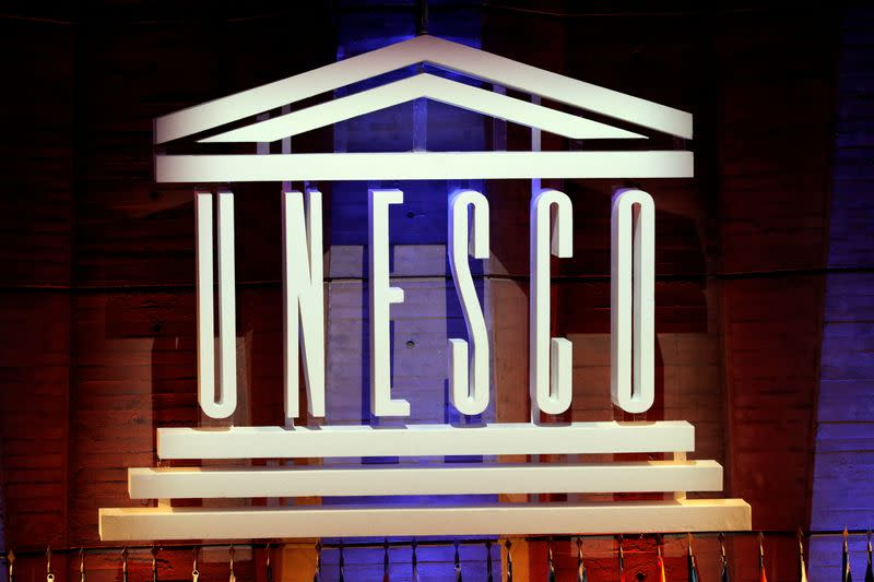 FILE PHOTO: The UNESCO logo is seen during the opening of the 39th session of the General Conference of the UNESCO at their headquarters in Paris