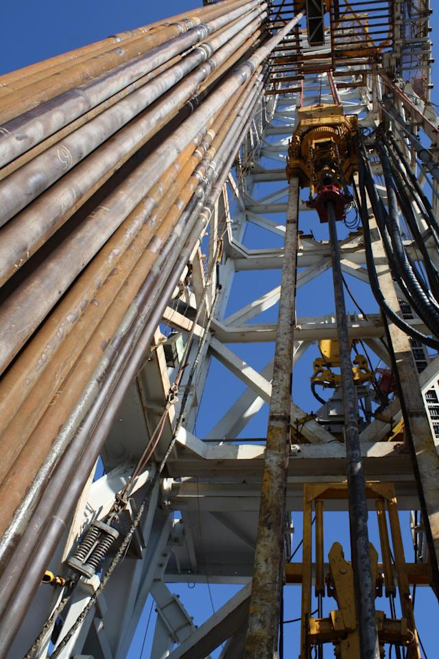 This Oct. 27, 2011 photo, shows the drilling rig aboard the Perdido platform, in the Gulf of Mexico, 200 miles south of Galveston, Texas. The platform is producing oil from a nearby field that is under the deepest water ever, at 9,682 feet. (AP Photo/Jon Fahey)
