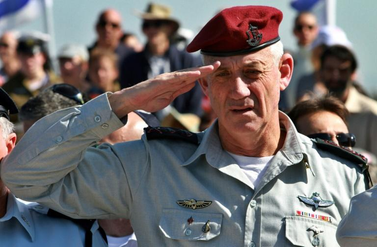 Gantz, seen in this 2015 picture when he was chief of staff of Israel's army, boasted in video clips of the number of Palestinian militants killed and targets destroyed under his command in the 2014 war with Gaza's Islamist Hamas rulers