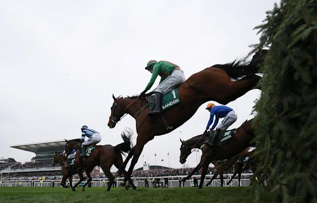 Horse Racing - Grand National Festival - Aintree Racecourse, Liverpool, Britain - April 12, 2018 Balnaslow ridden by Derek O'Connor before going on to win the 16:05 Randox Health Foxhunters' Open Hunters' Chase Action Images via Reuters/Jason Cairnduff