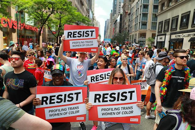 "<p>""Resist"" signs are held up by participants during the N.Y.C. Pride Parade in New York on June 25, 2017. (Photo: Gordon Donovan/Yahoo News) </p>"