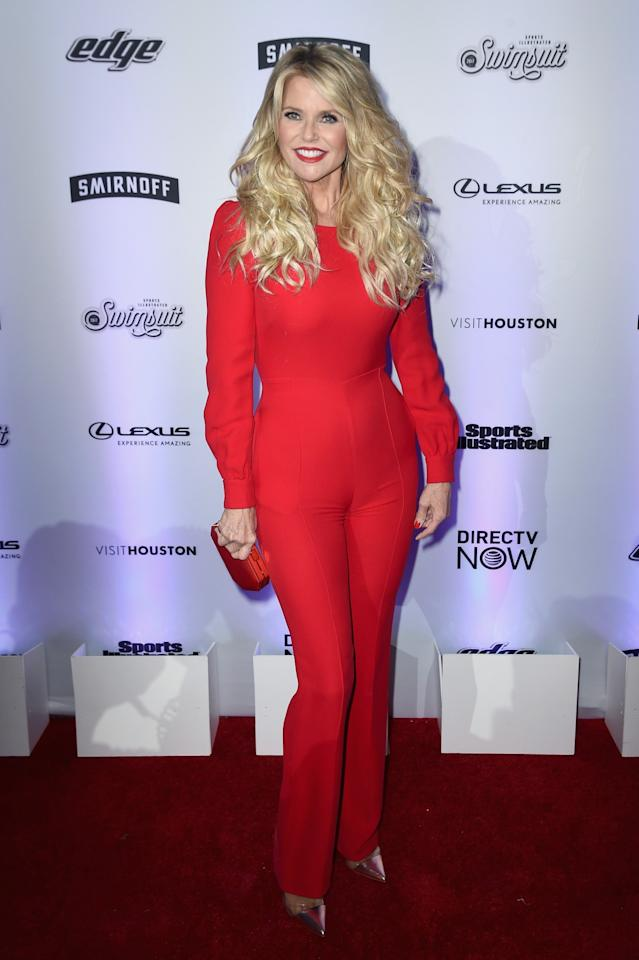 <p>Christie showed she's still got it in a gorgeous red jumpsuit. <i>[Photo: Getty]</i> </p>