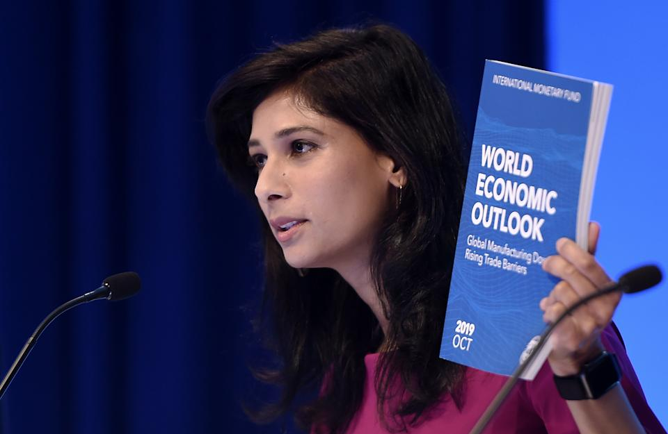 Gita Gopinath, IMF Chief Economist and Director of the Research Department, speaks at a briefing  during the IMF and  World Bank Fall Meetings on October 15, 2019 in Washington, DC. - The world economy is slowing to its weakest pace since the global financial crisis, amid continuing trade conflicts that have undercut business confidence and investment, the IMF said Tuesday. It cut the growth forecast for 2019 to 3.0 percent in its latest World Economic Outlook report, and lowered the 2020 estimate to 3.4 percent. The report warned that the global economy is experiencing