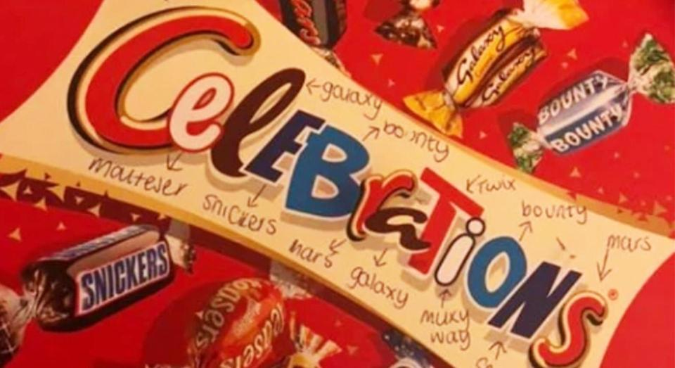 A social media user spotted something unexpected about a tub of Celebrations. [Photo: Facebook]