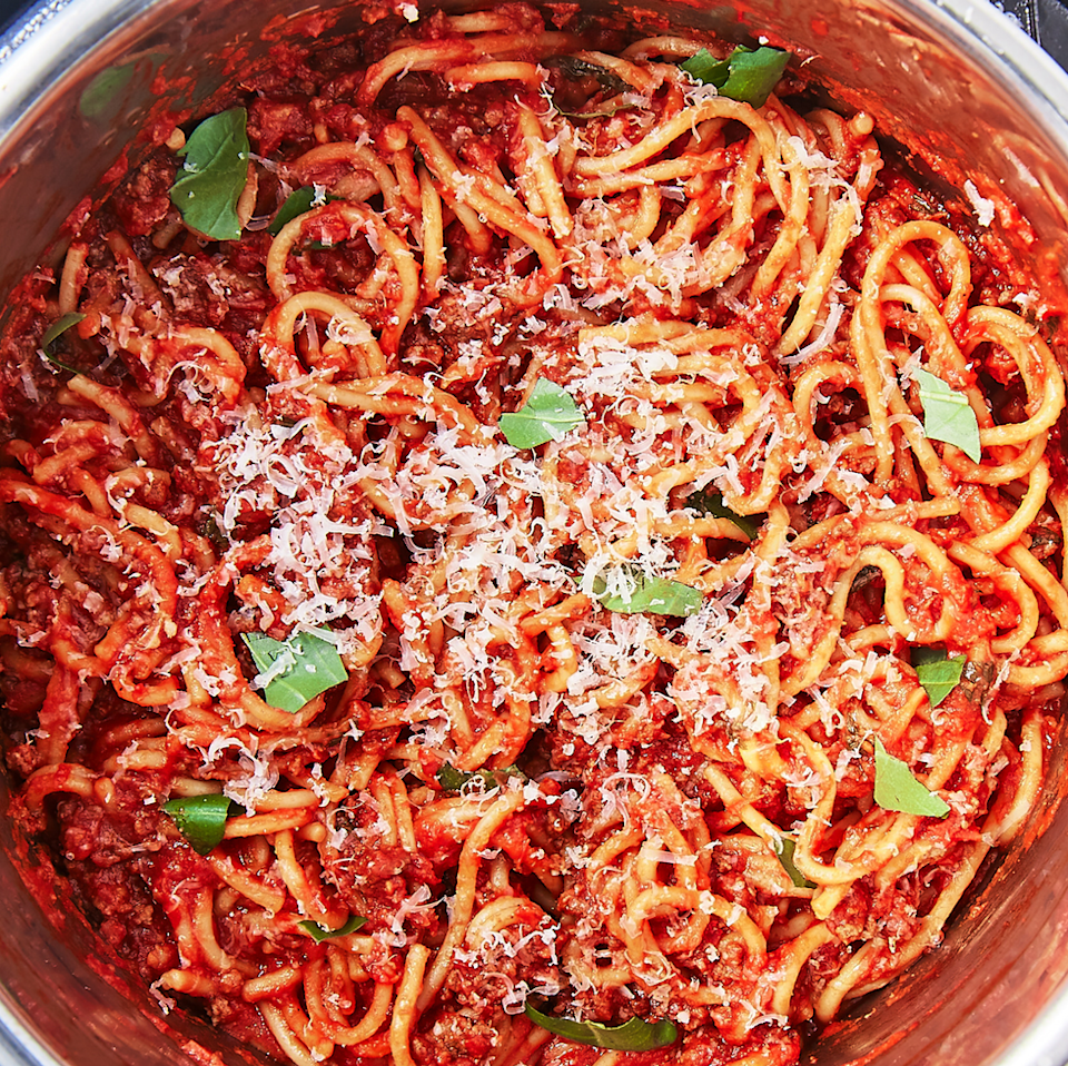 """<p>You turn to spaghetti when you have nothing else in the house and need a meal fast. Throwing everything together in the Instant Pot means you still get dinner fast, but with a homemade marinara instead of the jarred stuff.</p><p>Get the <a href=""""https://www.delish.com/uk/cooking/recipes/a34818115/instant-pot-spaghetti-recipe/"""" rel=""""nofollow noopener"""" target=""""_blank"""" data-ylk=""""slk:Instant Pot Spaghetti"""" class=""""link rapid-noclick-resp"""">Instant Pot Spaghetti</a> recipe.</p>"""