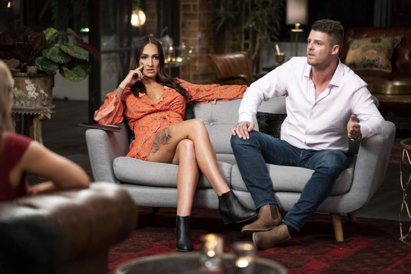 Hayley Vernon and David Cannon on married at first sight commitment ceremony couch