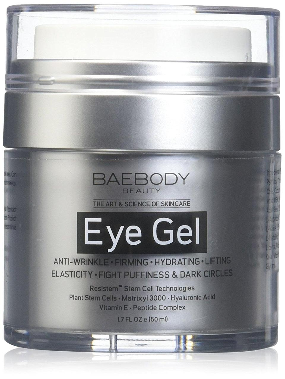 <p>Almost 10,000 people have reviewed this <span>Baebody Eye Gel</span> ($25) and 67 percent of them give it five stars. The ingredients include hyaluronic acid, which hydrates and plumps skin; Matrixyl 3000, which firms skin; and plant stem cells to strengthen and protect against damage.</p>
