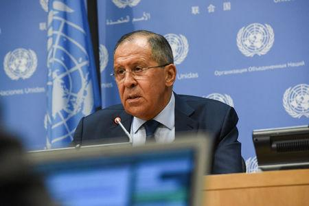 Russia's Foreign Minister Sergey Lavrov delivers remarks at a news conference at the 72nd United Nations General Assembly at U.N. headquarters in New York City