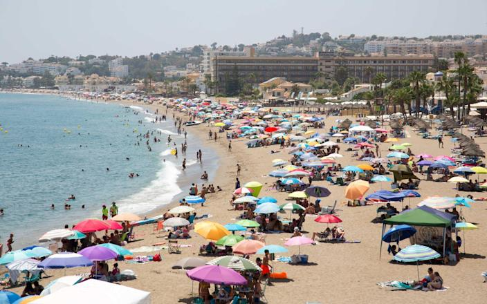 British holidaymakers seen on the beaches of Spain on Sunday after news broke that they will need too quarantine for 2 weeks on their return to the UK - ASA
