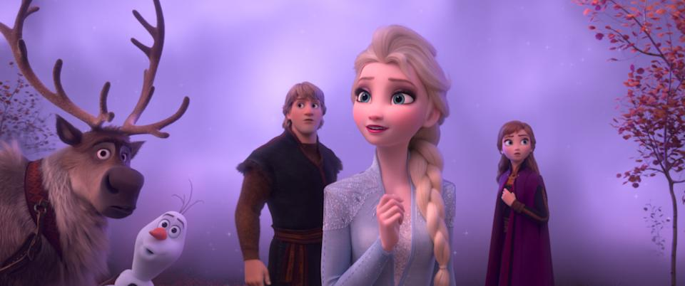Frozen 2, Elsa, Anna, Kristoff, Olaf and Sven journey far beyond the gates of Arendelle in search of answers. (Disney)