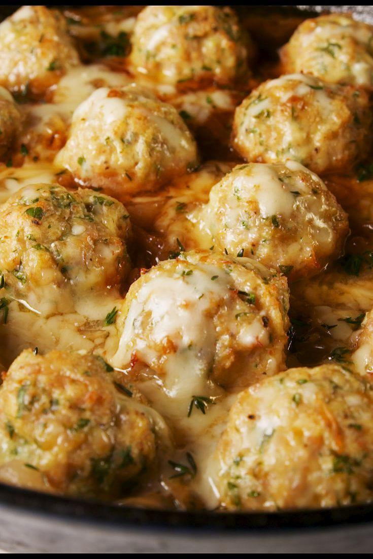 "<p>Turn the appetizer soup into a full meal. </p><p>Get the recipe from <a href=""https://www.delish.com/cooking/recipe-ideas/a26573549/french-onion-chicken-meatballs-recipe/"" rel=""nofollow noopener"" target=""_blank"" data-ylk=""slk:Delish"" class=""link rapid-noclick-resp"">Delish</a>.</p>"