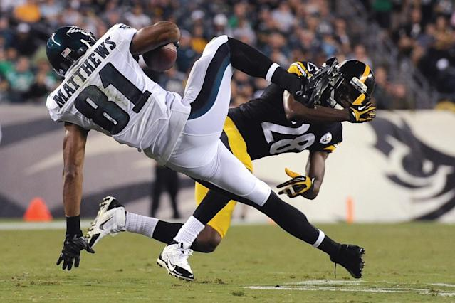 Philadelphia Eagles' Jordan Matthews (81) is tackled by Pittsburgh Steelers' Cortez Allen (28) during the first half of an NFL preseason football game, Thursday, Aug. 21, 2014, in Philadelphia. (AP Photo/Michael Perez)