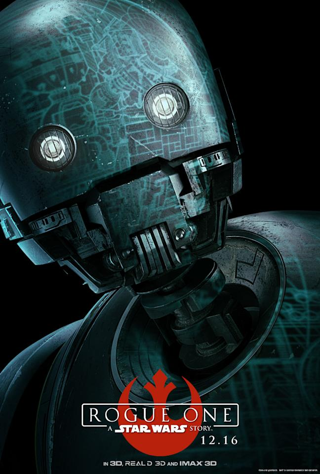 <p>The reprogrammed Imperial enforcer droid is now loyal to Cassian and a key member of the Rogue team, even if he's a bit of a loose cannon. (Disney/Lucasfilm) </p>