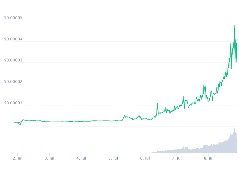The price of Tiger King Coin rose by more than 1,500 per cent in the first week of July (CoinMarketCap)