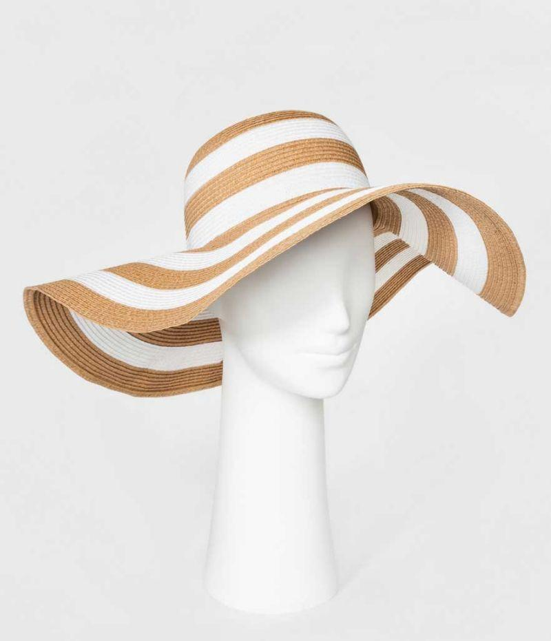 Brown and white striped floppy hat. (Photo: Target)