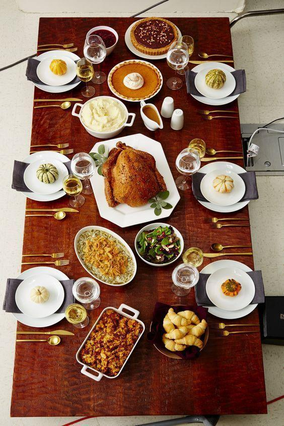 """<p>Thanksgiving is all about the food, of course...so it's fine if your table simply reflects that sentiment. Opt for showstopping serving pieces and a clean base this year. </p><p><a class=""""link rapid-noclick-resp"""" href=""""https://www.bettycrocker.com/menus-holidays-parties/mhplibrary/holidays/bettys-guide-to-hosting-your-first-thanksgiving?nicam4=socialmedia&nichn4=pinterest&niseg4=bettycrocker&nicreatid4=post&crlt.pid=camp.vtuwlvfv6bxm&crlt.pid=camp.suec0stpq9wt"""" rel=""""nofollow noopener"""" target=""""_blank"""" data-ylk=""""slk:See more at Betty Crocker"""">See more at Betty Crocker</a></p>"""