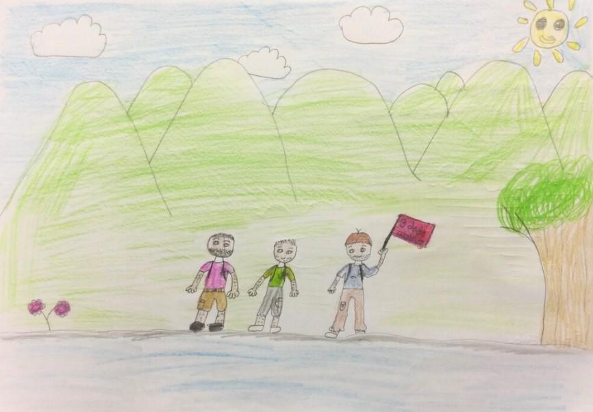 A drawing Mr Owen's daughter Evie (Three Dads Walking)