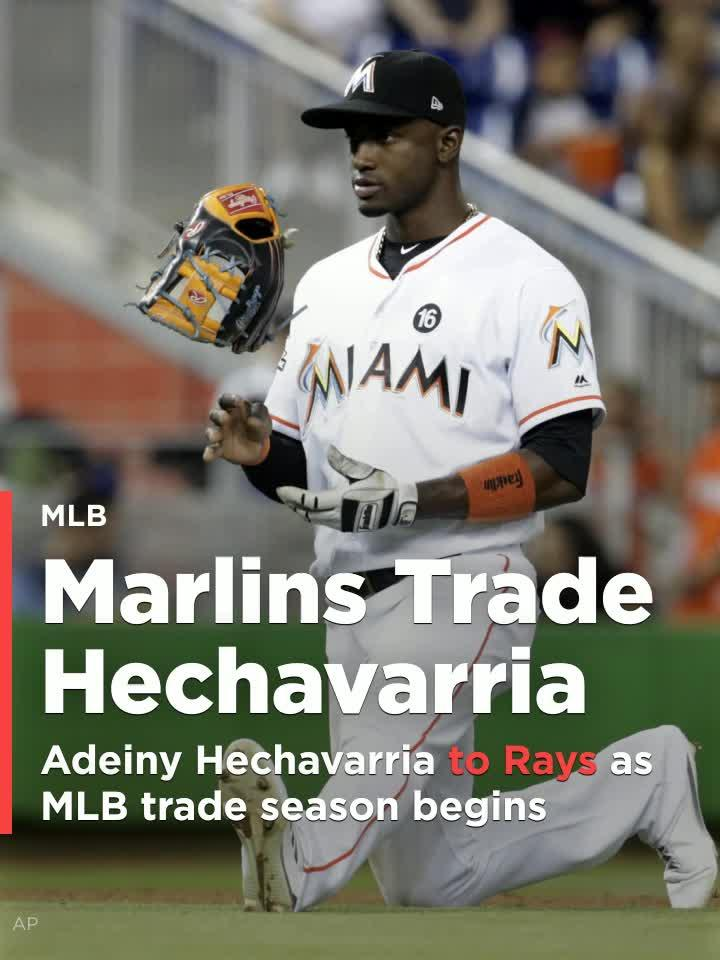 The Miami Marlins are sending Adeiny Hechavarria to the Tampa Bay Rays for two minor leaguers.