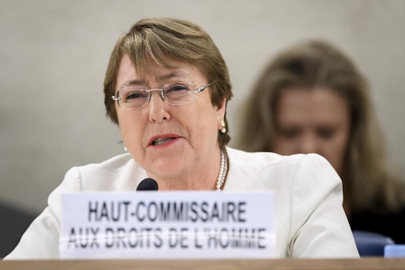 "Michelle Bachelet said Burundi Ambassador Albert Shingiro's comments were ""deeply regrettable in both tone and substance"" (AFP Photo/Fabrice COFFRINI)"