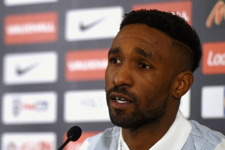 England's striker Jermain Defoe speaks during a press conference at St George's Park in Burton-on-Trent on March 20, 2017, ahead of their int'l friendly against Germany in Dortmund