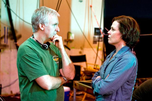 James Cameron and Sigourney Weaver on the set of <em>Avatar.</em> (Photo: Mark Fellman/20th Century Fox/Courtesy Everett Collection)