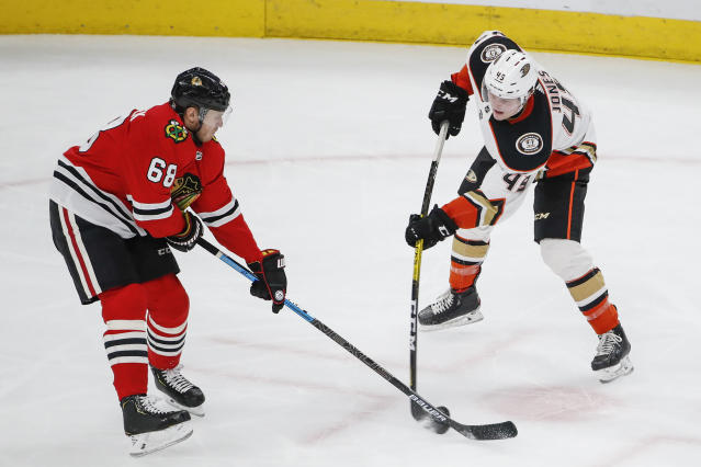 Chicago Blackhawks defenseman Slater Koekkoek (68) works for the puck against Anaheim Ducks left wing Max Jones (49) during the second period of an NHL hockey game Saturday, Jan. 11, 2020, in Chicago. (AP Photo/Kamil Krzaczynski)
