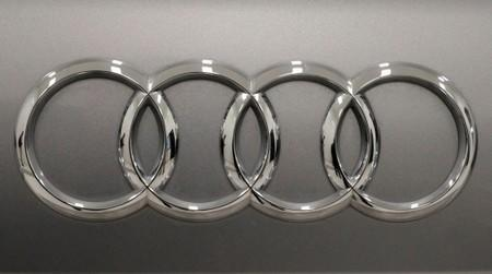 The logo of the German car manufacturer Audi is pictured at the training center during a media tour in San Jose Chiapa