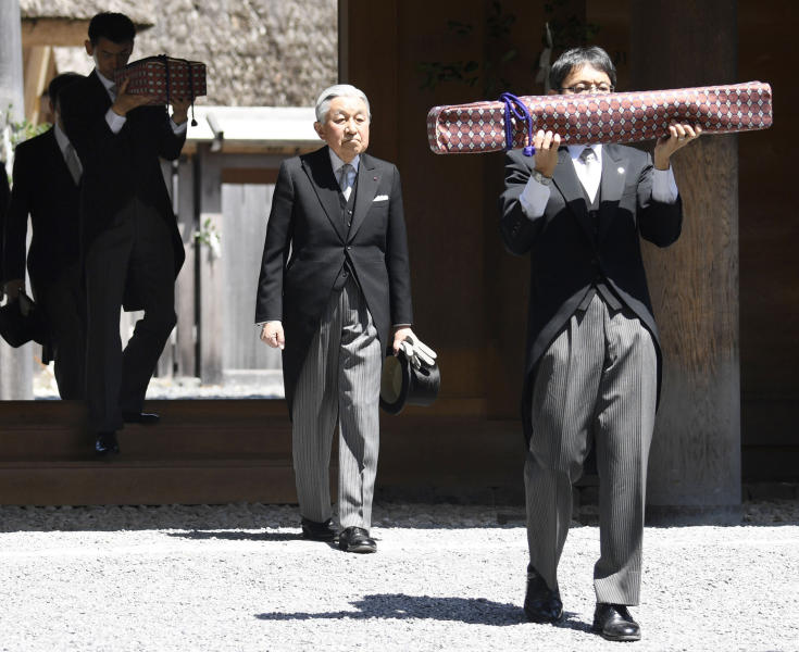 Japanese Emperor Akihito, second right, visits Ise Grand Shrine, or Ise Jingu, in Ise, central Japan Thursday, April 18, 2019. This is the last trip to a local region for emperor and empress before emperor's abdication. (Kazushi Kurihara/Kyodo News via AP)