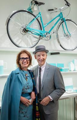 British Milliner Stephen Jones OBE with Rose Marie Bravo, Vice Chairman of Burberry, pictured in Tiffany's Blue Box Cafe on 5th Avenue in Manhattan, New York City the day before Cunard's 2019 Queen Mary 2 Transatlantic Fashion Week at Sea
